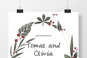 小清新植物边框婚礼邀请函简约海报背景