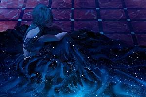 坐在地板的女孩 唯美长裙子 露背 厚涂画风4k高清动漫壁纸