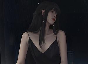 长发少女黑色吊带裙 好看的4k动漫美女壁纸3840×2160
