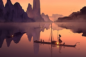 晚上 湖水 女孩 竹排 渔船 鸟 灯 好看二次元动漫4k壁纸3840×2160