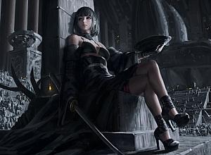 女孩 吊带裙 高跟鞋 战士 武士刀 宝座 士兵 幻想艺术绘画4k动漫壁纸