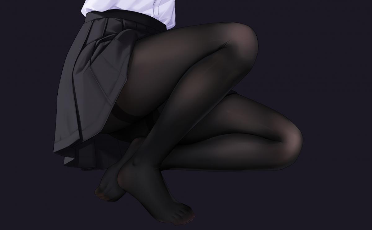 动漫美女 白色衬衫 迷你短裙 黑丝袜 黑裤袜 美脚美腿 4k高清壁纸