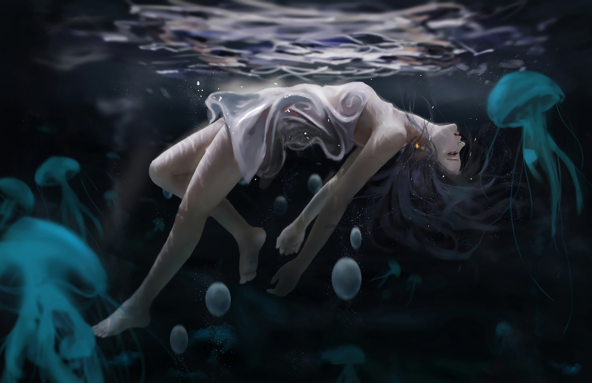 女子 水下 海底 海母 唯美艺术插画 4k动漫壁纸